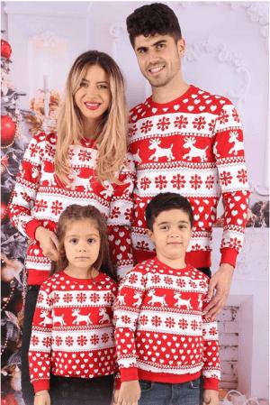 Bluze de Familie - Set Snowflakes Rosu