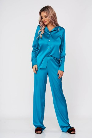 Set StarShinerS verde turquoise din satin din 2 piese cu croi larg cu insertii de broderie slit lateral
