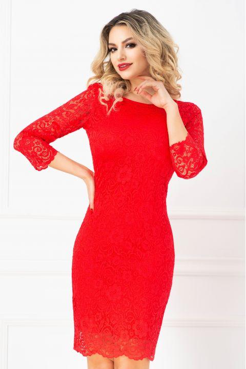 Rochie eleganta de ocazie din dantela rosie