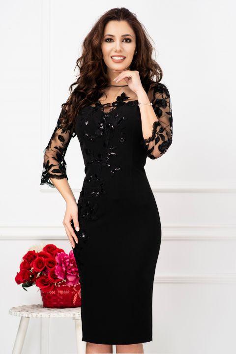 Rochie eleganta de seara conica cu tul brodat si paiete