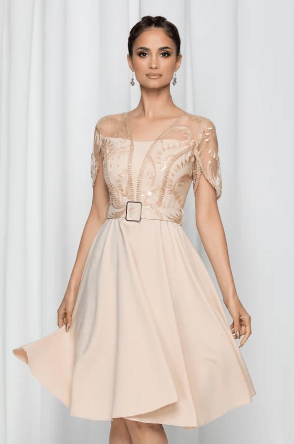 Rochie eleganta Josephine bej accesorizata cu paiete si broderie