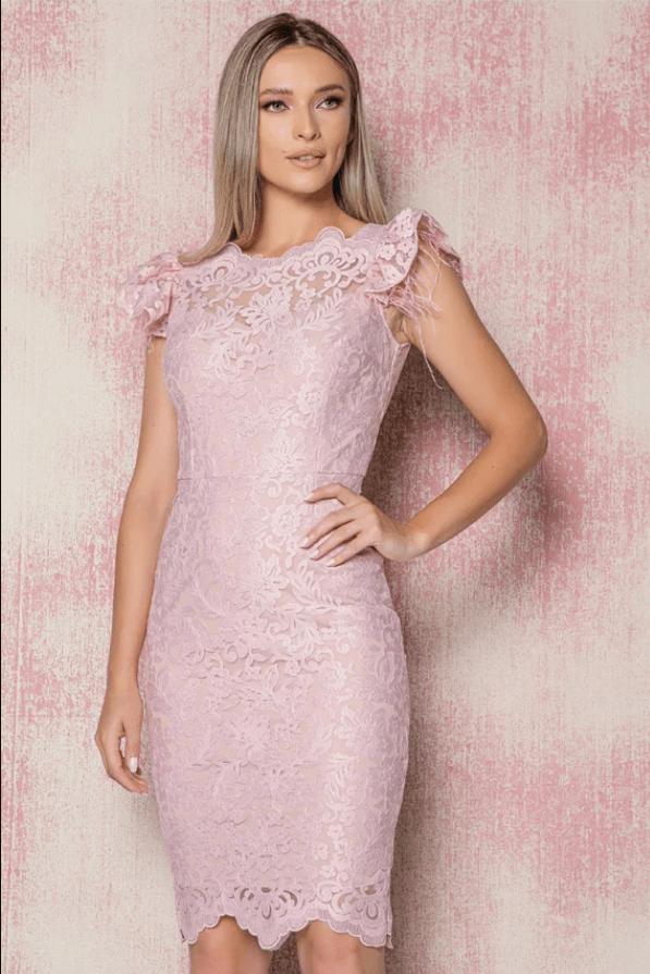 Rochie eleganta MBG roz din dantela accesorizata cu fulgi la maneci