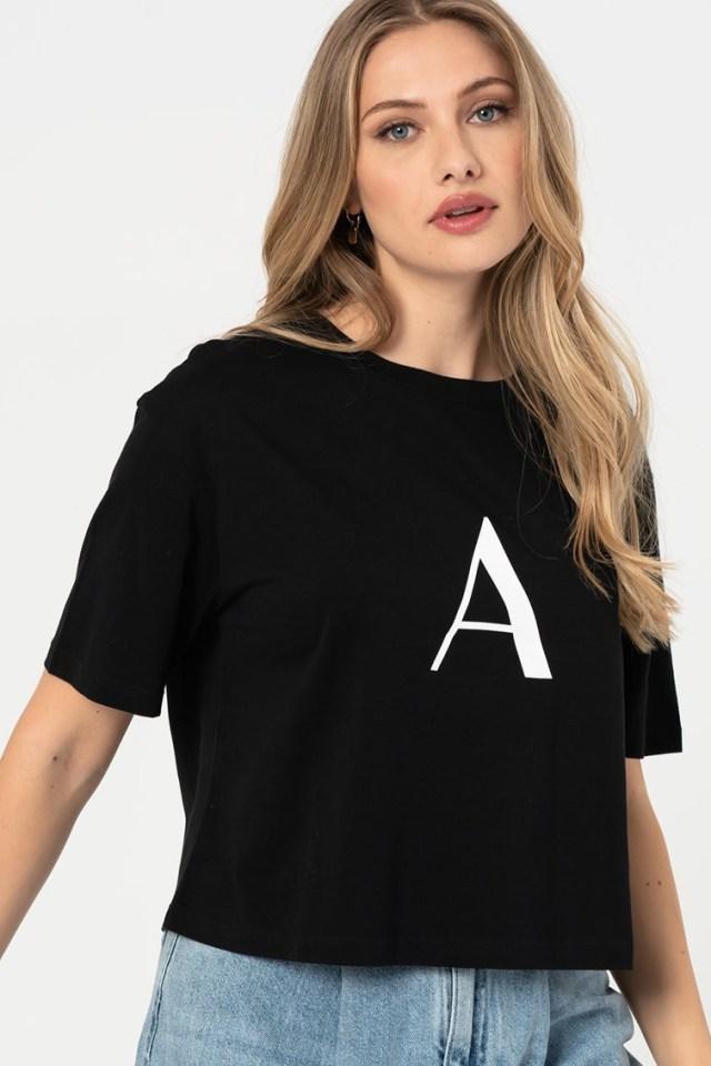 Tricou crop cu imprimeu logo