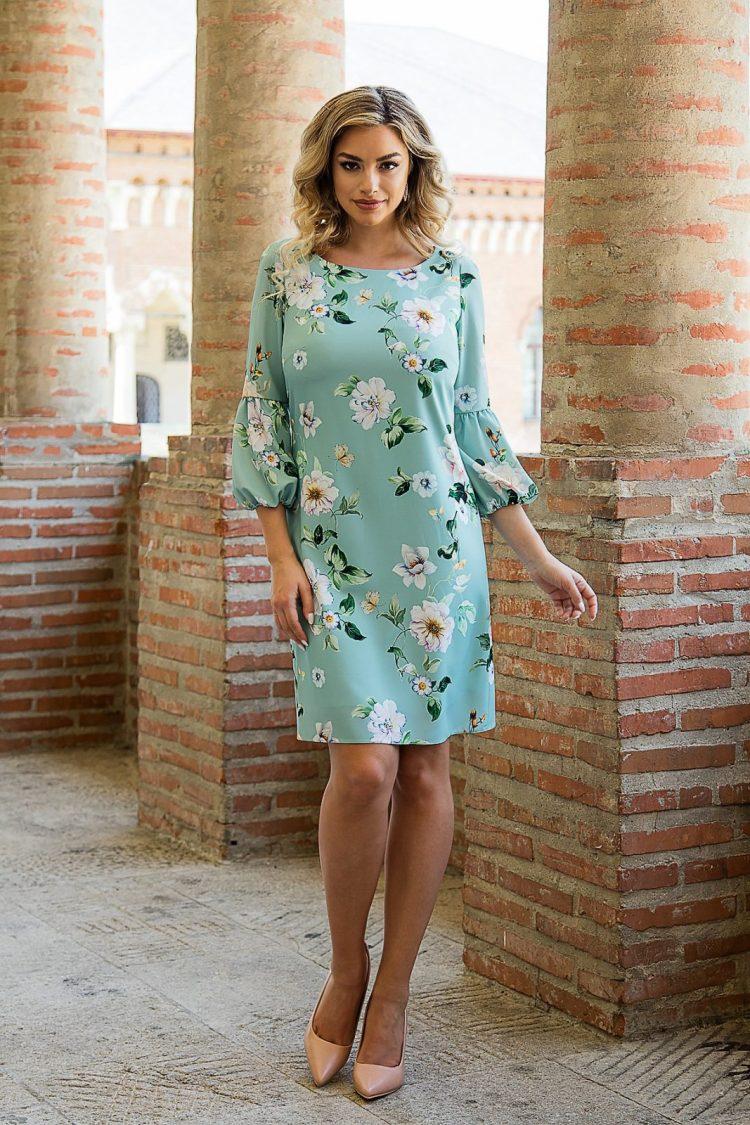 Rochie de zi din tesatura florala verde