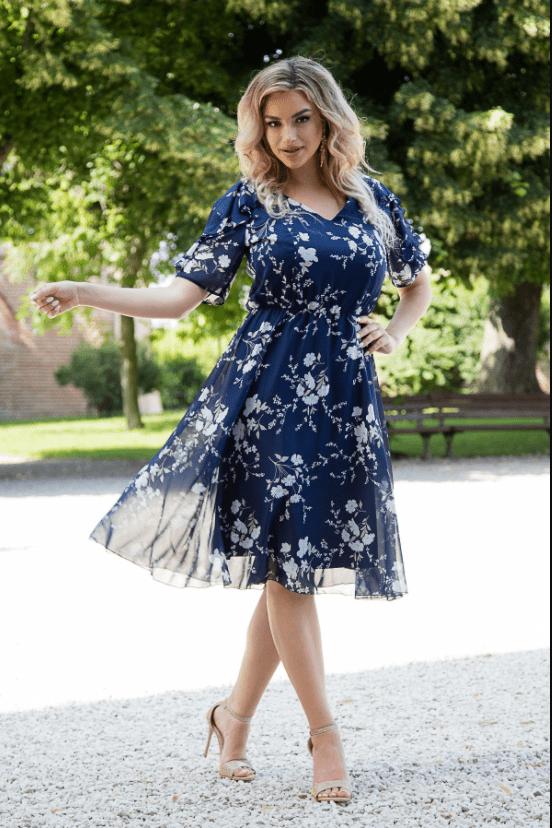 Rochie din voal bleumarin cu imprimeu floral