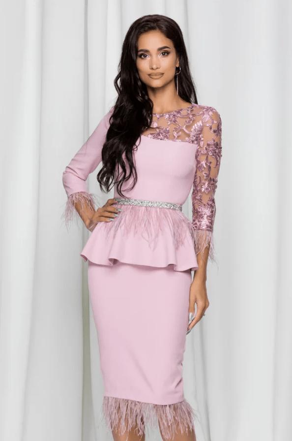 Rochie eleganta lila MBG cu fulgi la extremitati si talie