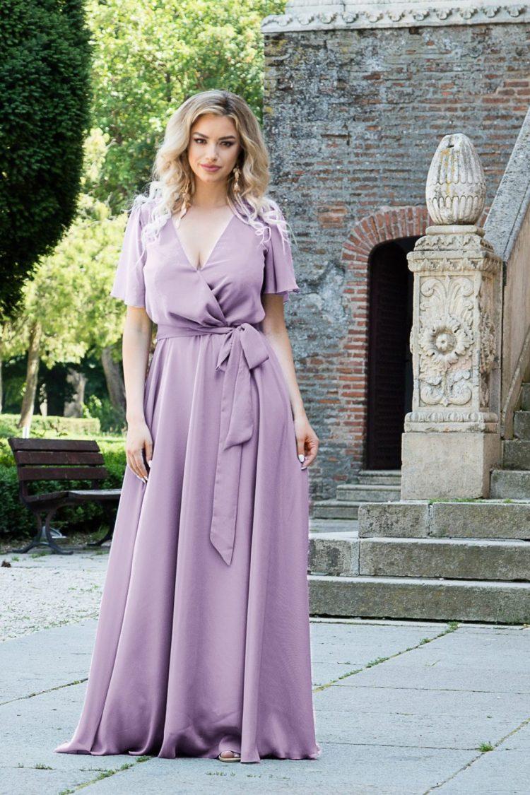 Rochie eleganta lunga petrecuta din voal lila