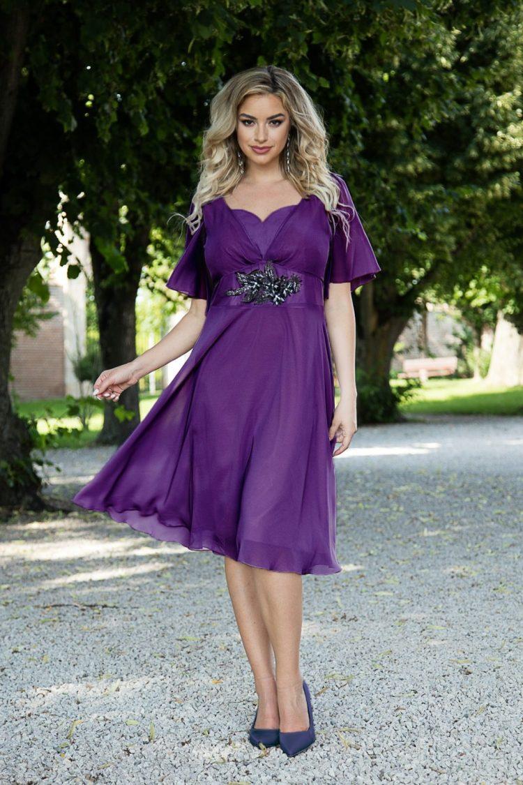 Rochie eleganta midi mov din voal