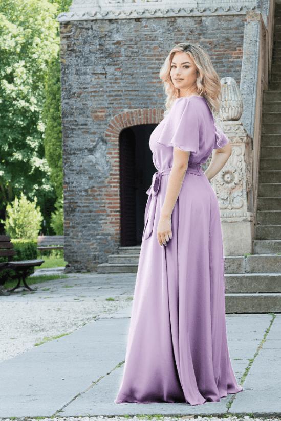 Rochie lunga eleganta in clos, din voal lila