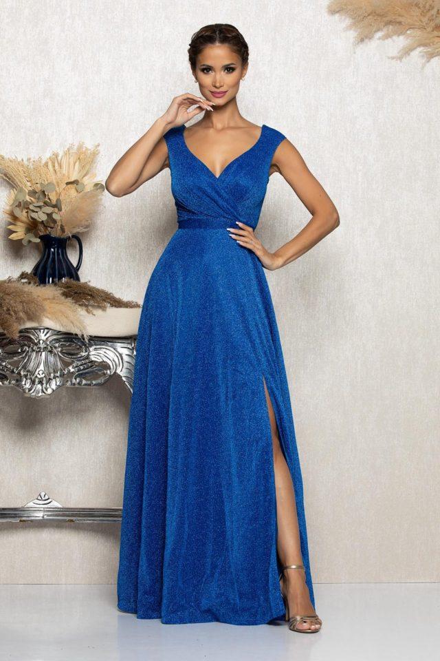 Rochie eleganta de ocazie albastra cu decolteu in V