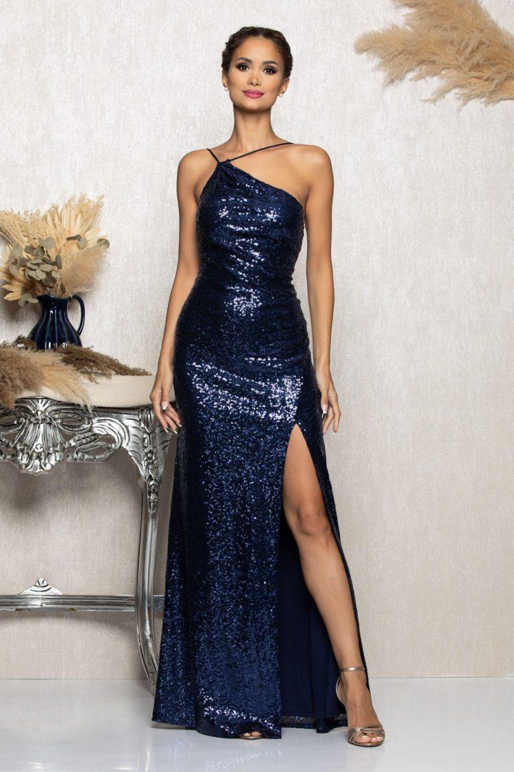 Rochie eleganta de ocazie lunga albastra cu paiete