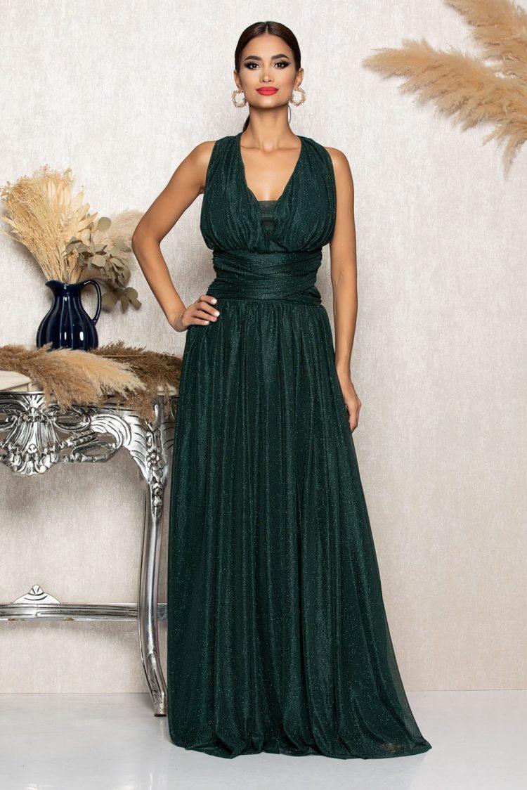 Rochie eleganta de ocazie verde smarald cu franjuri si strassuri la spate