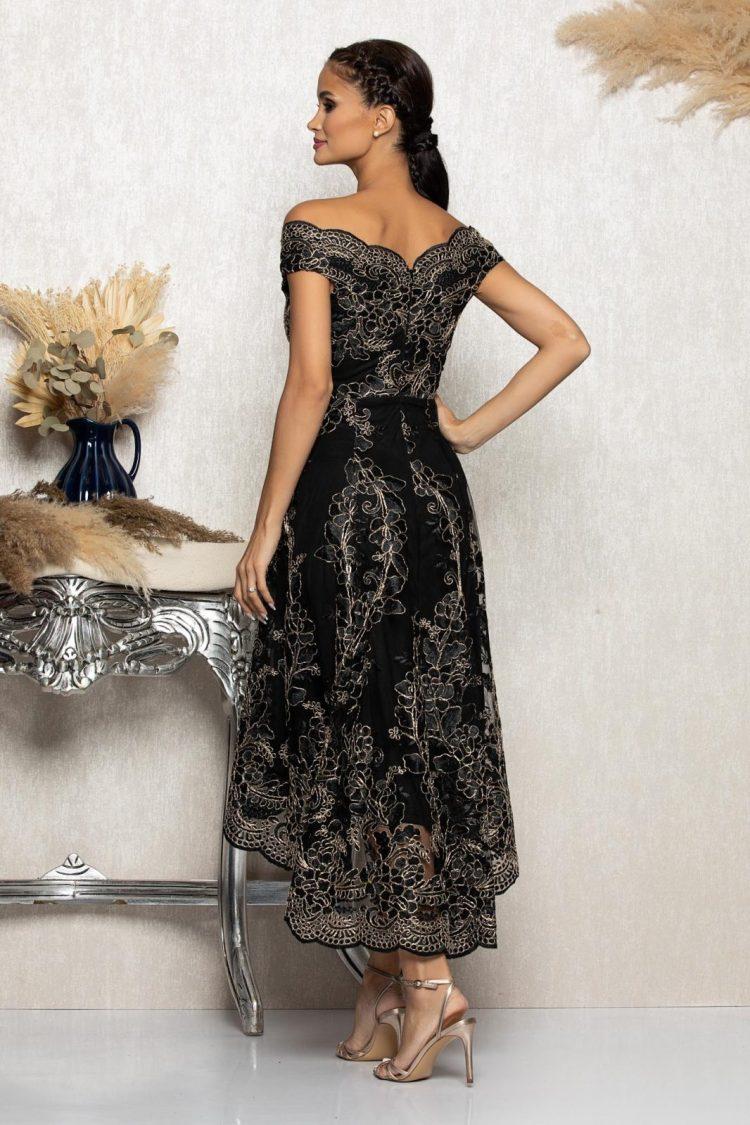 Rochie eleganta de seara asimetrica accesorizata cu broderie