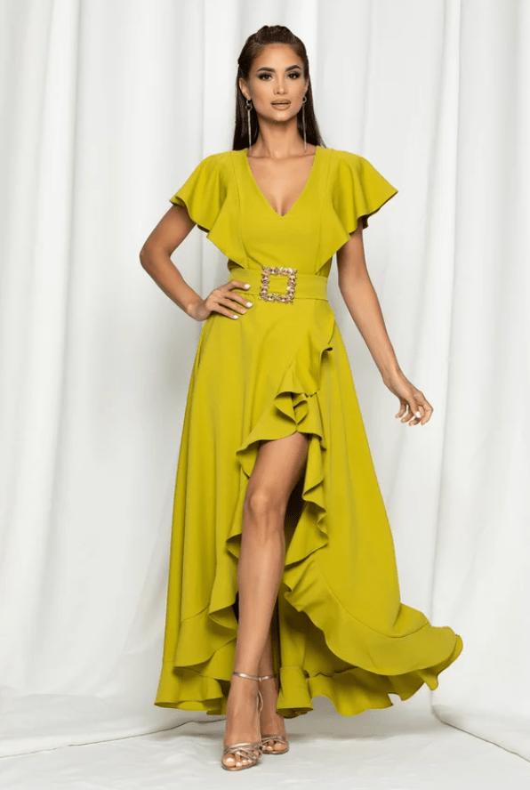 Rochie eleganta galben mustar cu maneci tip fluture si curea in talie