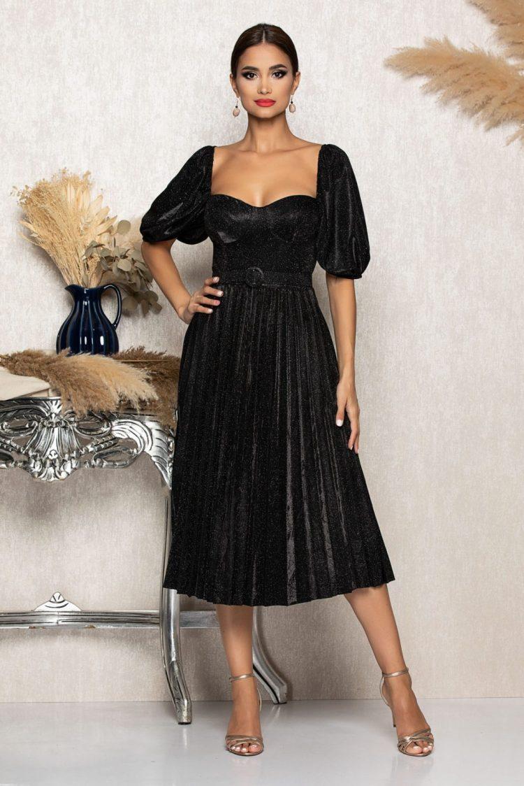 Rochie eleganta midi neagra cu decolteu pe umeri