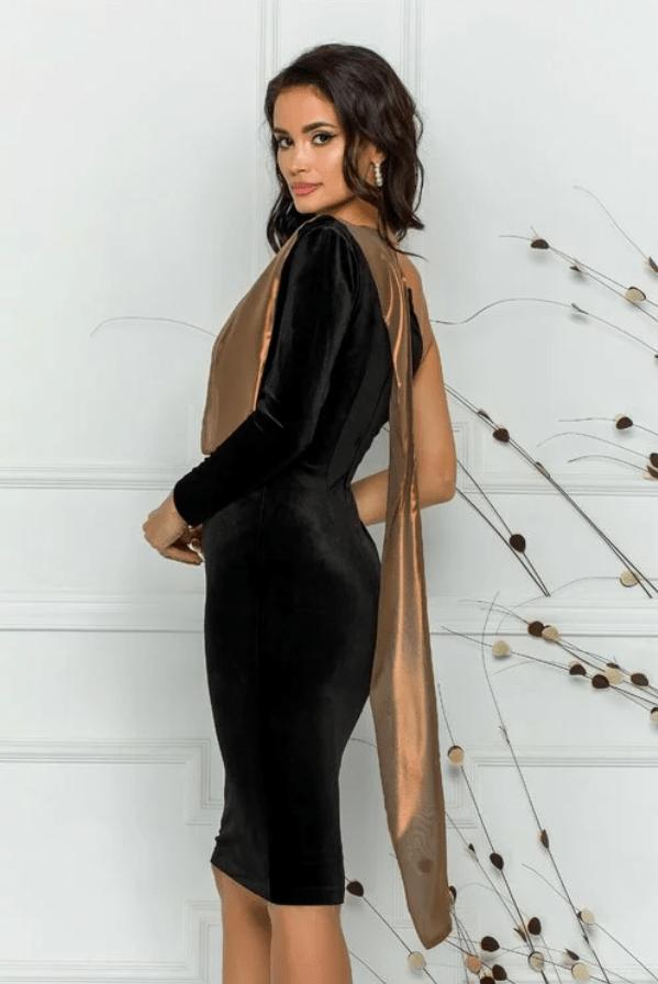Rochie eleganta neagra din catifea cu accesoriu tip esarfa