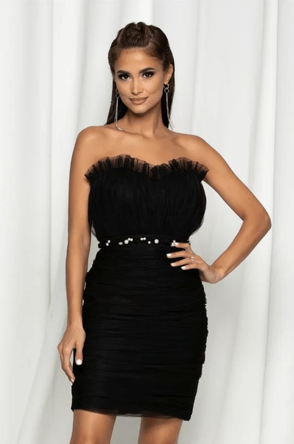 Rochie eleganta neagra din tull plisat cu perle in talie