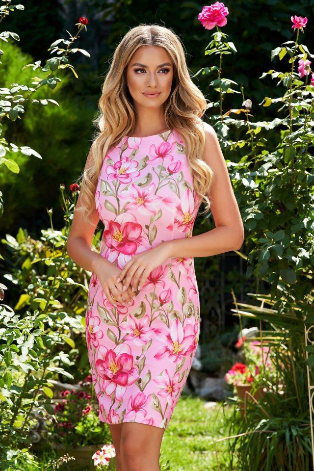 Rochie eleganta scurta cambrata cu imprimeu floral unic