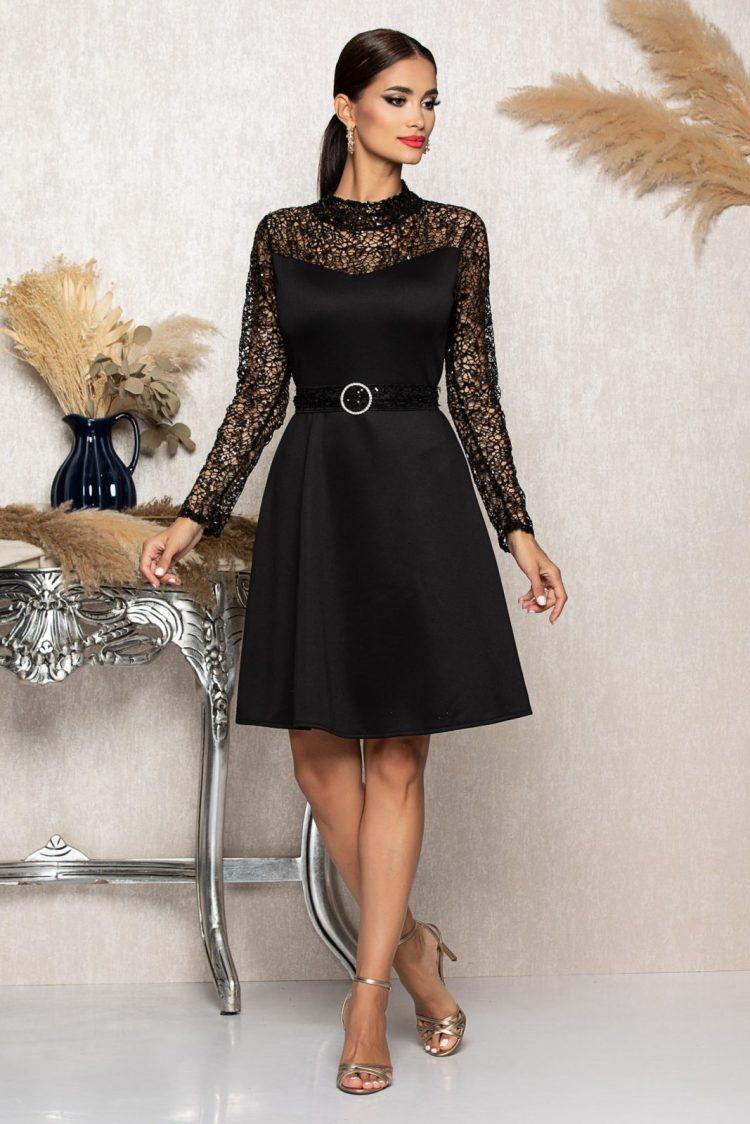 Rochie eleganta scurta neagra cu maneci lungi din broderie cu paiete