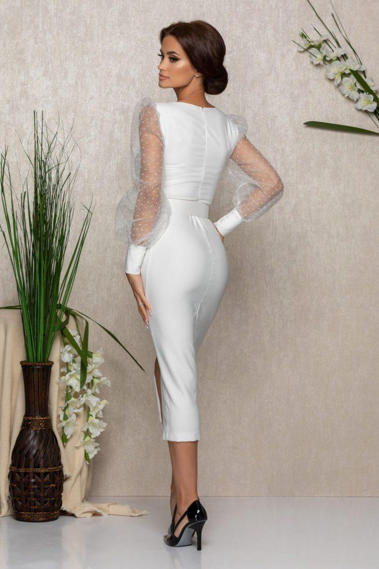 Rochie eleganta alba conica midi despicata in fata