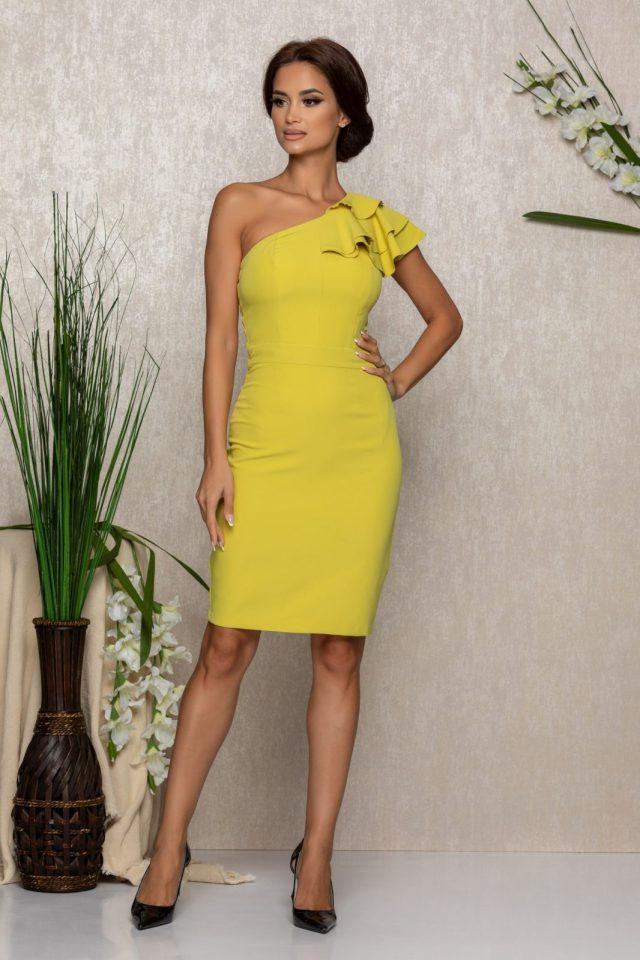 Rochie eleganta de ocazie galben-lime tip one shoulder