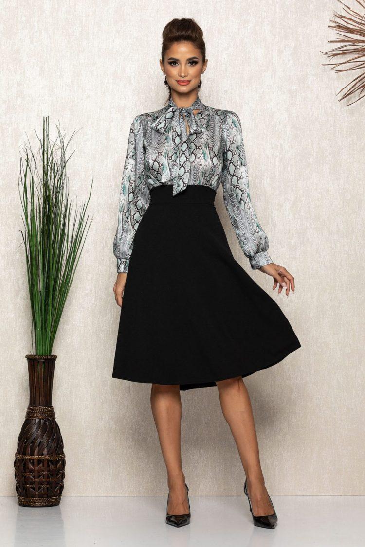 Rochie eleganta midi neagra cu voal satinat animal print