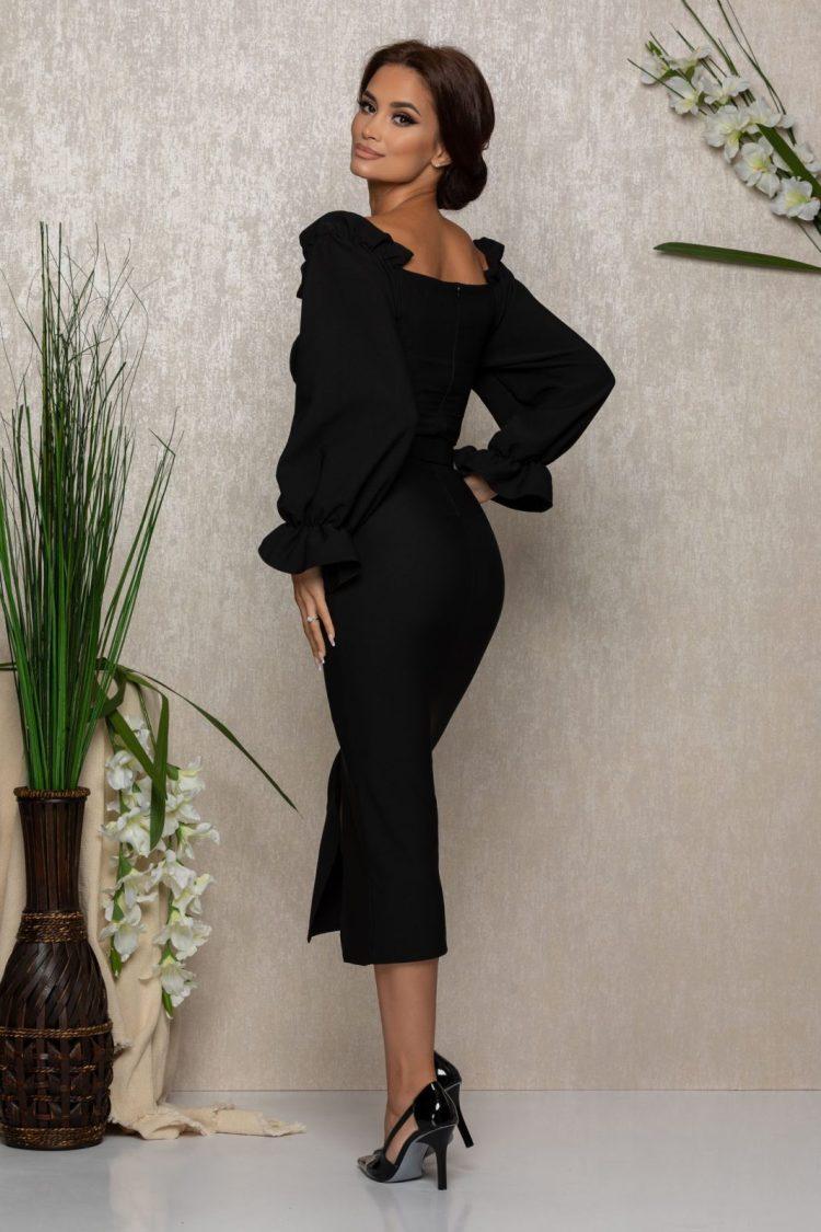 Rochie eleganta neagra midi cu decolteu pe umeri