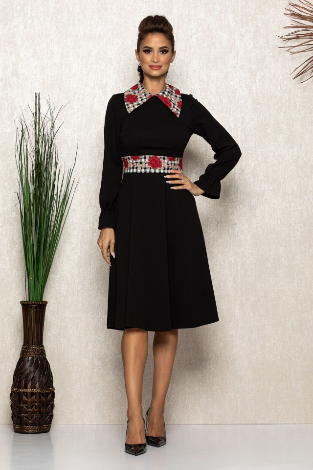Rochie midi eleganta neagra cu detalii florale