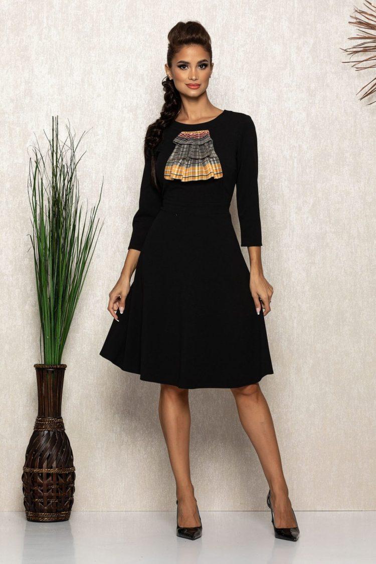 Rochie midi eleganta neagra cu jabou din voal
