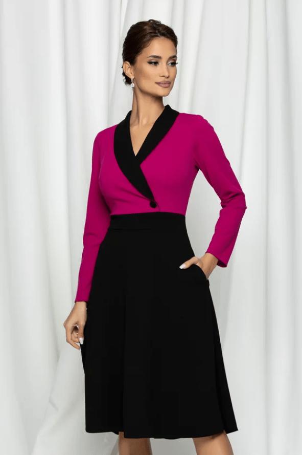 Rochie eleganta cu bust ciclame si fusta neagra