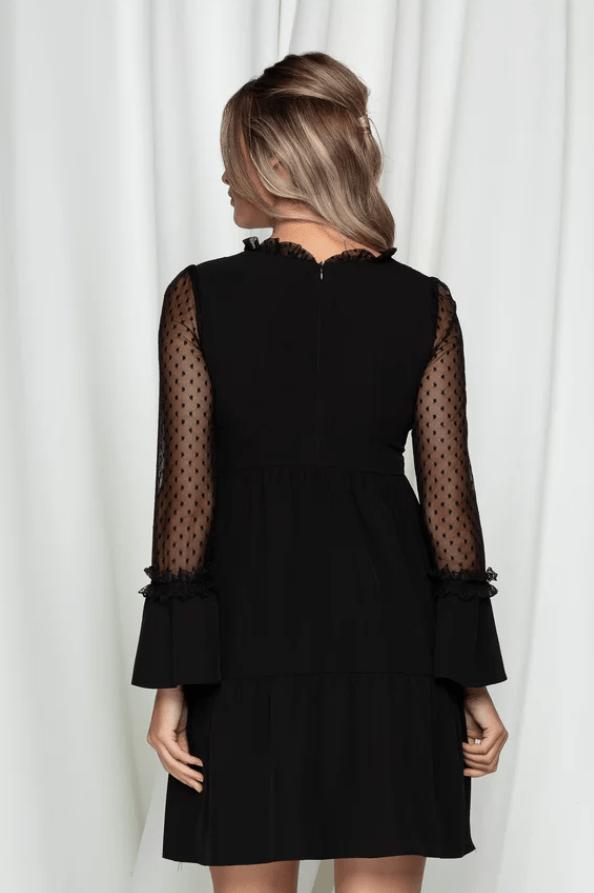 Rochie eleganta neagra cu insertii din tulle cu buline