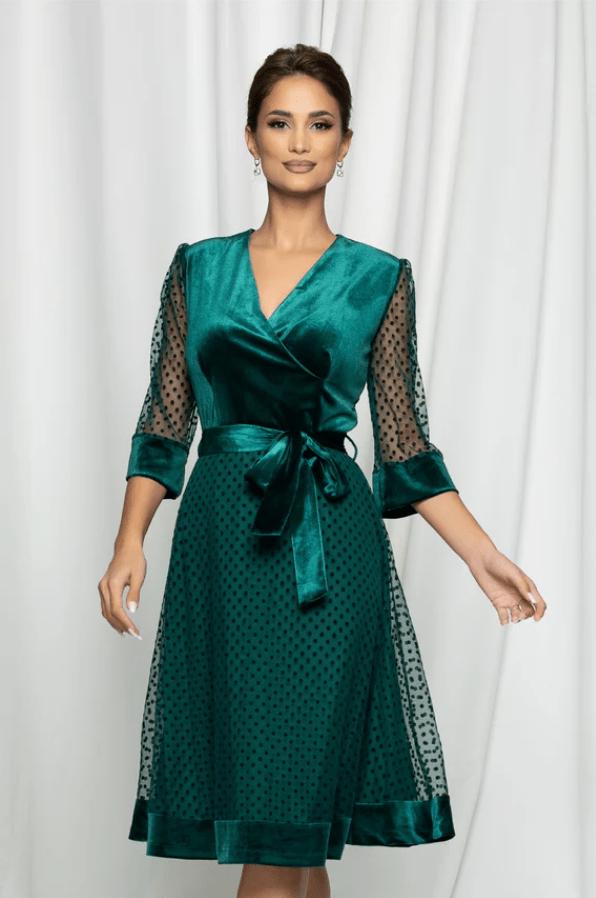 Rochie eleganta verde din catifea si tulle cu buline
