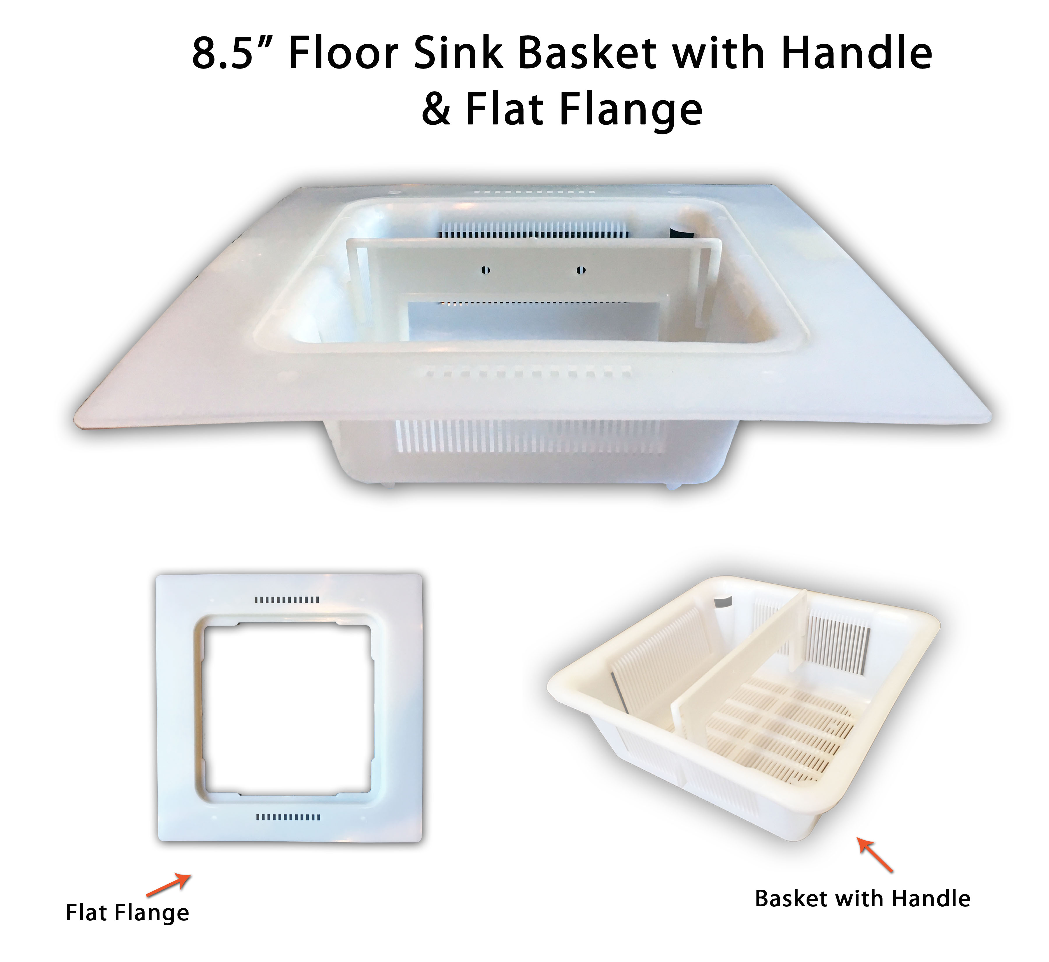 8 5 floor sink basket with 12 flange adapter