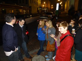 Networking continues on the streets of Georgetown after dinner.