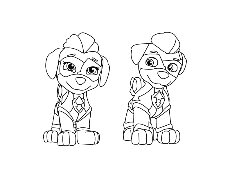 Mighty Twins Paw Patrol Coloring Page Drakl