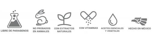 libre de parabenos, sin pruebas animales, con aceites esenciales, aceites vegetales, vitaminas, hecho en mexico