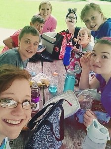 kids at lunch at drama camp
