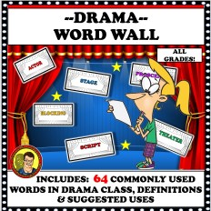 Theatre Vocabulary Words and a red curtain with a student looking at a paper. s