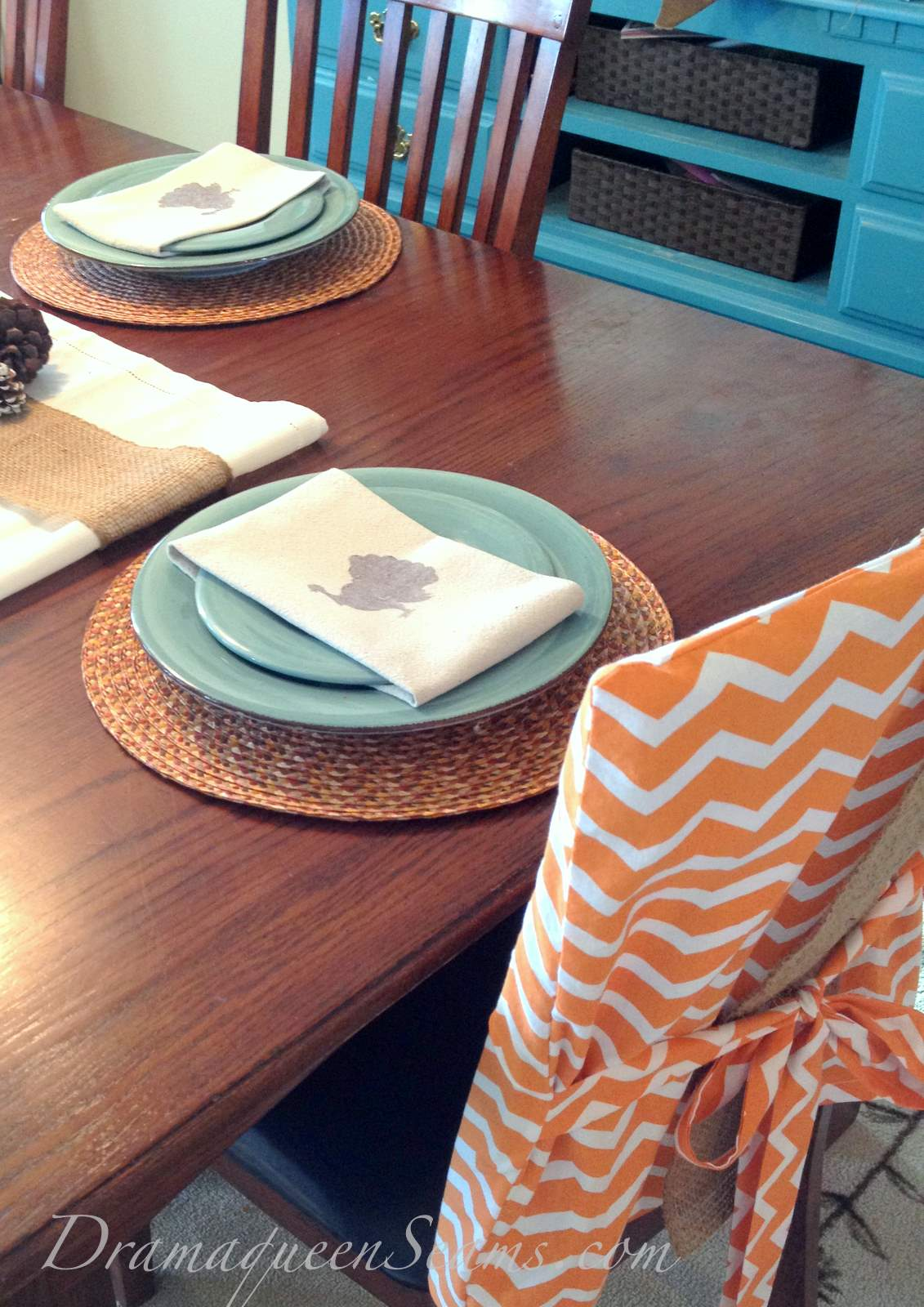 burlap chair covers ideas director canada chevron and dinning room  drama queen seams