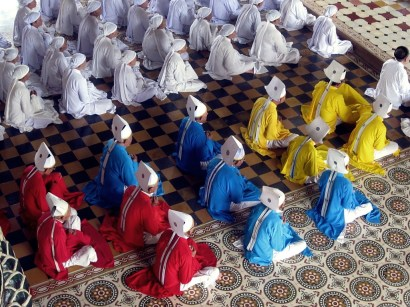 Colorful Cao Dai church leaders of Vietnam