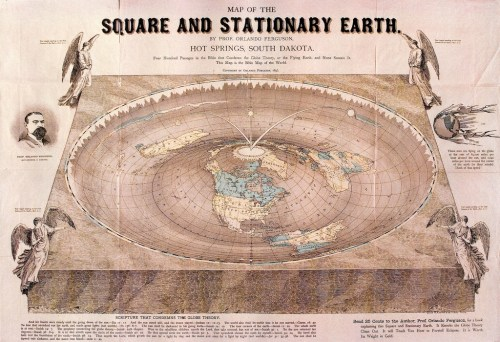 Map of the square, stationary Earth