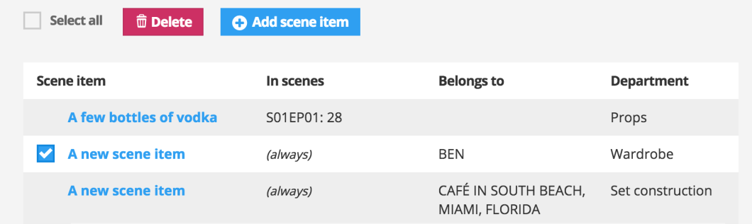 When you have checked the checkbox before the scene item you want to delete, click the red delete button above the scene item list.