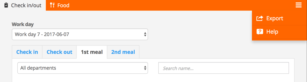 Export meal times