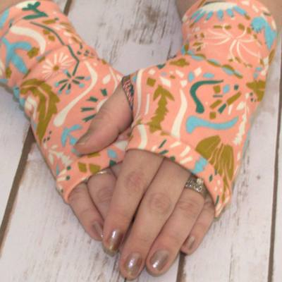 Organic jersey fingerless gloves Rose pink