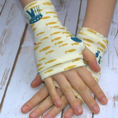 organic jersey fingerless gloves under the sea