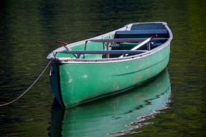 a canoe in the water