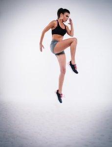 action, jump, woman