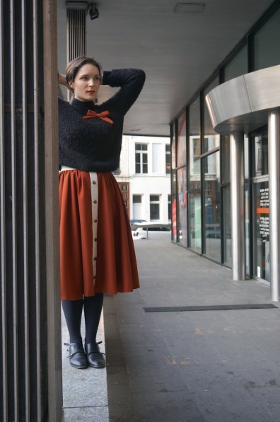 Skirt and knitted sweater