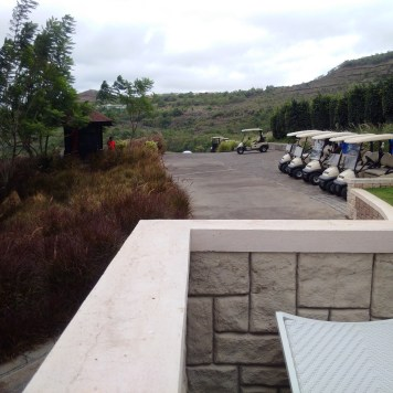 The golf carts waiting to escort guests to and fro their rooms