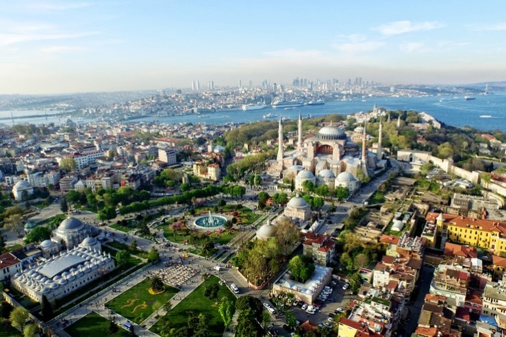 Aerial view of Istanbul and bosphorus
